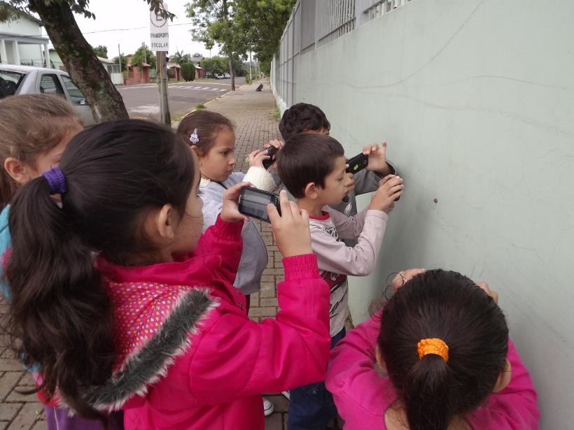 Alunos fotografam caracol no muro da escola. 14/03/2013